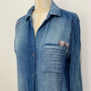 Anthropologie Chambray Distressed Button S…